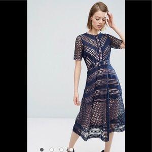 Asos Navy Blue premium occasion lace midi dress